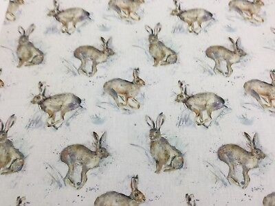 VOYAGE Hurtling Hares Cotton Fabric For Upholstery/Curtains/Cushions/Crafts • 17.95£