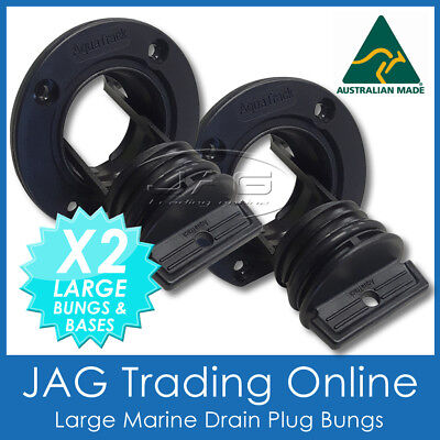 AU18.85 • Buy 2 X LARGE COMPLETE BOAT DRAIN BUNG PLUGS BLACK- For Quintrex/Stacer Marine Bungs