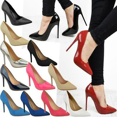 Ladies Womens High Stiletto Heel Pumps Work Smart Party Pointed Court Shoes Size • 16.99£