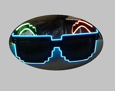 LED Glasses - Tri Colour Funky Flashing Light Up Pixel Glasses With Controller • 14.99£