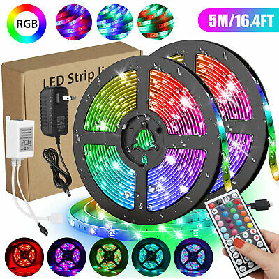 $13.97 • Buy Waterproof 5M 16.4ft 300 LED RGB 3528 SMD Strip Light Flexible 12V+Remote+Power