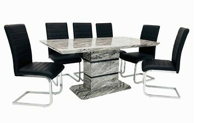 £719 • Buy Modern Grey Marble Effect Dining Table With 6 Black Dining Chairs