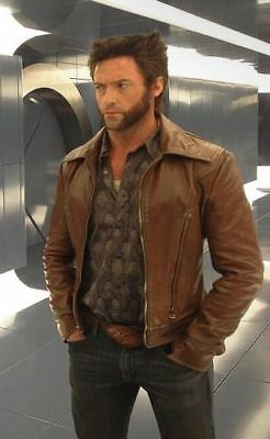 Xmen Wolverine Days Of Future Past Brown Slim Fit Genuine CowHide Leather Jacket • 109.98£