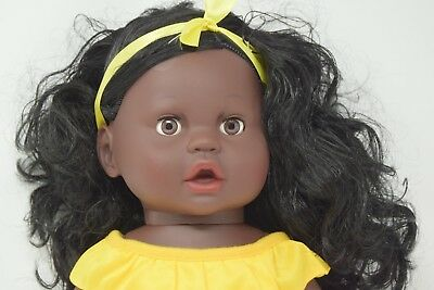 Large 16  Afro Doll Ethic African Black Skin Girl Doll Yellow Vinyl 40cm    • 12.99£