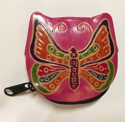 $12 • Buy Shantiniketan Hippie Bohemian India Painted Leather Butterfly Coin Purse Pink