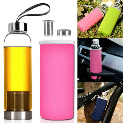 AU13.11 • Buy 550ml Sports Glass Juice Tea Water Bottle Cup Mug Filter Infuser Sleeve Car Bike