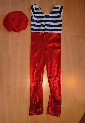 Modern Group Dance Costume Catsuit French Style With Red Beret. 10 To 12yrs • 15£