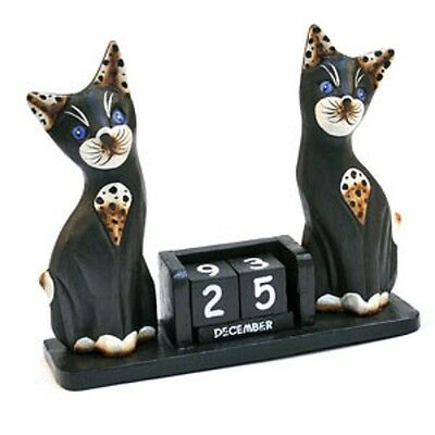 Shabby Chic Hand Carved Wooden Two Black Cats Desktop Perpetual Block Calendar • 11.99£