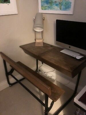 Old Wooden Double Vintage School Desk & Fixed Bench Chair. • 300£
