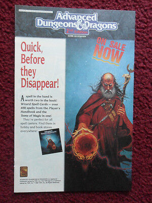 AU3.81 • Buy 1992 Print Ad TSR Dungeons & Dragons 2nd Edition Spell Cards
