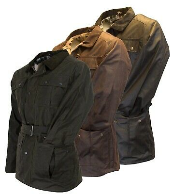 Mens Walker And Hawkes Waxed Belted Motorcycle Wax Cotton Waterproof Jacket • 54.95£