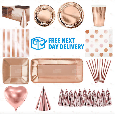 £2.95 • Buy ROSE GOLD Plates Cups Table Cloth Decorations Shiny Disposable Christmas Party