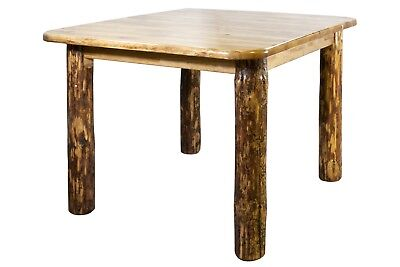 $759.05 • Buy Rustic Log Table 45 Inch Square Dining Room Tables Amish Made Furniture 4 Post