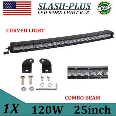 $34 • Buy Curved 25inch 120W LED Work Light Bar Spot Flood Combo Single Row Offroad VS 24