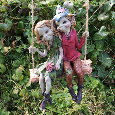 £17.99 • Buy Pixie Couple Hanging On A Swing Fun Garden Resin Ornament Fairy Elf Gnome 39125