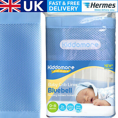 £10.49 • Buy GORGEOUS Bluebell All Round Cot Bumper For Baby Boy - Breathable Mesh Crib Liner