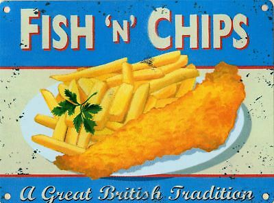 £7.10 • Buy Fish & Chips Metal Advertising Sign 15x20cm Wall Plaque