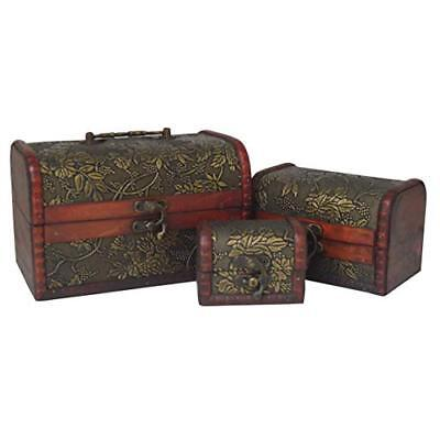 Antique Vintage Set Of 3 Wood Treasure Chest Jewellery Box Trinket Make Up Case • 10.99£