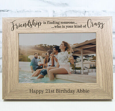 £11.99 • Buy Personalised Engraved Wooden Photo Frame Birthday Gift 18th 21st 30th 40th