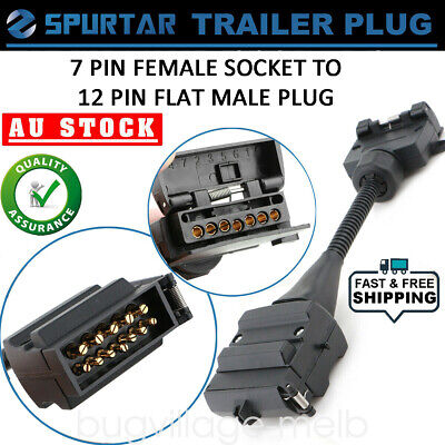 AU17.99 • Buy 7 Pin Flat Female Socket To 12 Pin Male Plug Trailer Adaptor Caravan Connector