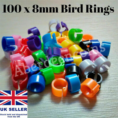 100 X Poultry Clip Leg Rings 8mm Chicken Hatching Pigeon Pheasant Bird Dove Duck • 5.95£