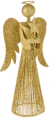 Christmas Tree Topper 33cm Tall Gold Fairy Angel Decoration Treetop Ornaments • 11.99£