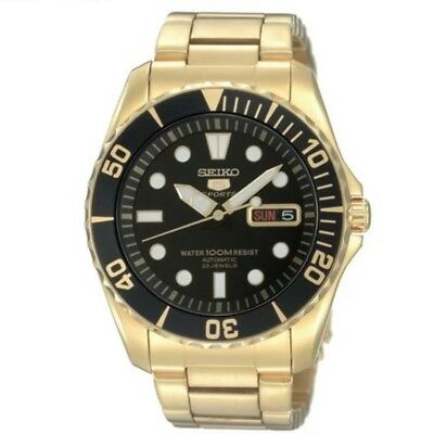 $ CDN343.51 • Buy Seiko 5 Sports SNZF22 J1 Gold With Black Dial Men's Automatic Analog Watch