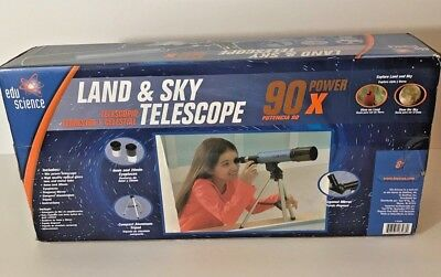 £15.57 • Buy Edu-Science Land And Sky Telescope 90X Power With Table-Top Tripod - Blue