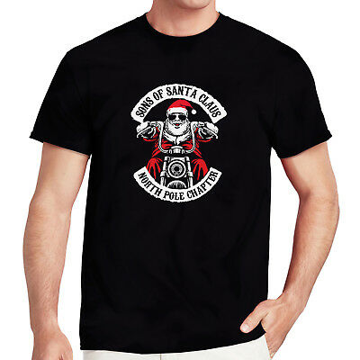 SONS OF SANTA CLAUS Funny Fathers Christmas Motorcycle Biker Dads T-Shirts Gift • 5.99£