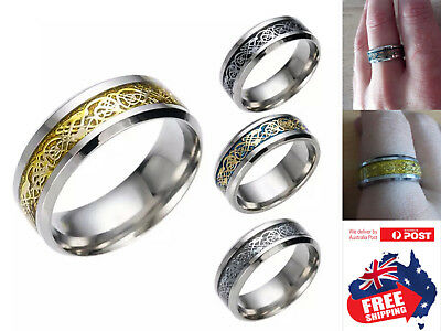 AU5.95 • Buy Stainless Steel 8mm Brushed Center Men Women Celtic Dragon Band Comfort Ring 1pc