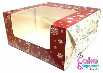 Christmas Cake Box 8 Inch BULK PRICES XMAS  1, 5, 10, 20 Boxes FREE POST • 25.99£