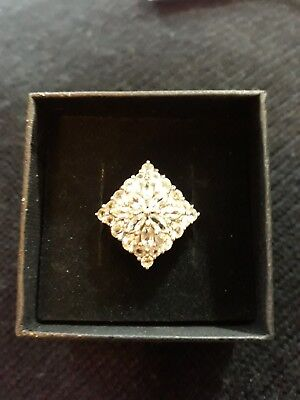 Cullinan White Topaz Sterling Silver 3.46 Ct Ring Stunning Christmas Gift • 65£