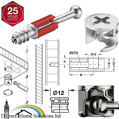 HAFELE MINIFIX Ø12mm CAM LOCK BOLTS & FIXING DOWELS FURNITURE FITTINGS FLAT PACK • 6.99£