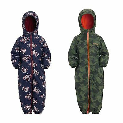 Regatta Kids Printed Splat II All In One Puddle Suit Waterproof Boys Girls • 24.99£