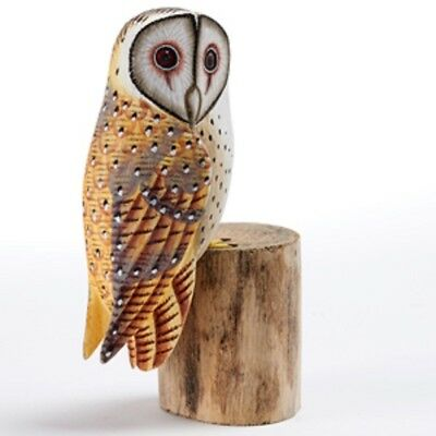 Hand Carved Wooden Painted Barn Owl On A Tree Stump Garden Ornament Bird Carving • 16.99£