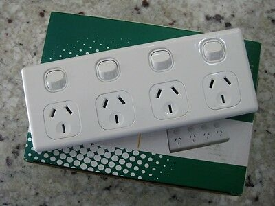 AU18.90 • Buy 10 Amp Quad Power Point 4 Gang Socket Outlet 10A SAA GPO Double Pole