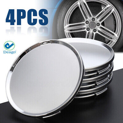 $7.23 • Buy 4pc Universal 63mm 2.5  Car Wheel Hubs Center Caps Covers No Badge Emblem Silver