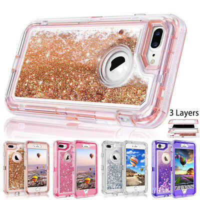 AU9.79 • Buy IPhone 8 7 6 Plus XR XS Max X Glitter Liquid Defender Clear Bling Quicksand Case