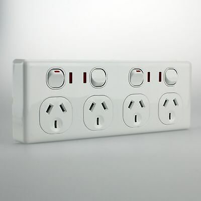AU21.85 • Buy 4 Gang Quad Double Pole GPO With NEON Indicator Outlet 4 Power Point Socket