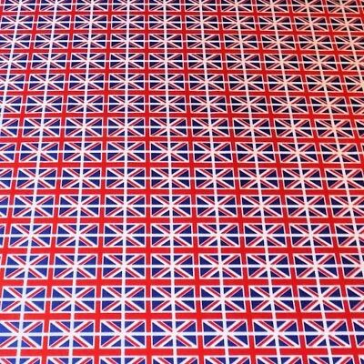 100% Cotton Poplin Fabric Rose & Hubble Mini Union Jack Flags United Kingdom UK • 7.40£