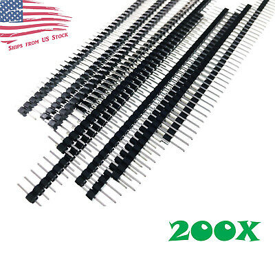 $14.29 • Buy 200pc 40-Pin Male Header 0.1  2.54mm Breadboard PCB Strip Connectors USA