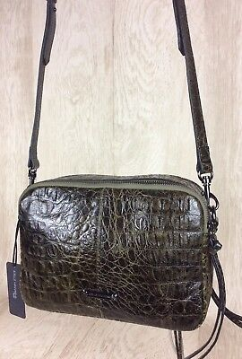 $45.50 • Buy Joelle Hawkens By Treesje NEW Croco Embossed Camera Bag- Lidia (Olive) QVC $195