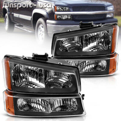 $70.09 • Buy For 2003-2006 Chevy Silverado Black Housing Amber Side Headlights/lamp Assembly