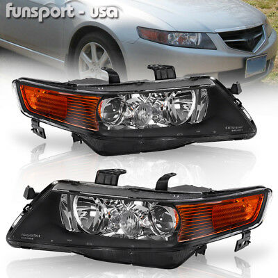 $104.05 • Buy For 2004-2005 Acura TSX Black Projector Headlights Headlamps Assembly Left+Right