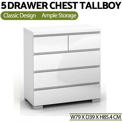 AU238.99 • Buy High Gloss Tallboy Dresser 5 Chest Of Drawers Table Cabinet Bedroom White