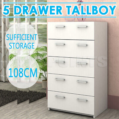 AU149.99 • Buy 5 Drawers Chest Of Drawers Tallboy Dresser Table Cabinet Bedroom Storage White
