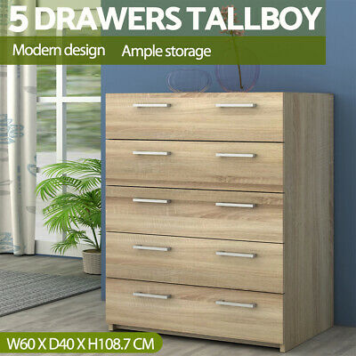 AU149.99 • Buy 5 Drawers Chest Of Drawers Tallboy Dresser Table Cabinet Bedroom Storage Oak