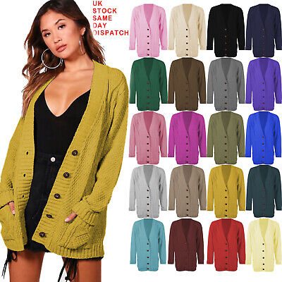 £12.99 • Buy Women Ladies Long Sleeve Button Top Chunky Aran Cable Knitted Grandad Cardigan
