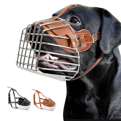 £18.28 • Buy Large Dog Muzzle Leather Metal Wire Basket Adjustable For Pitbull German Shepard
