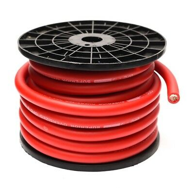 Red Cca 0 Awg Cable 5 Metres 0 Gauge Wire Includes Ferrules And Heatshrink • 29.99£